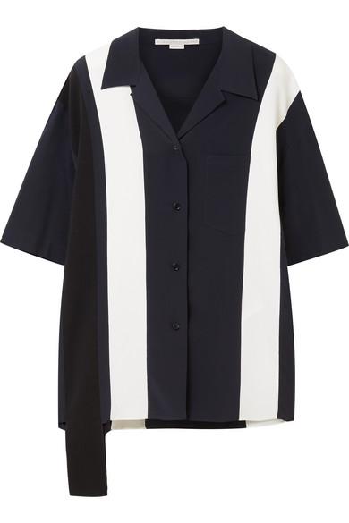Notch-Lapel Striped-Panel Silk Shirt in Midnight Blue