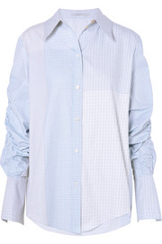 Stella McCartney Ruched oversized cotton-poplin shirt
