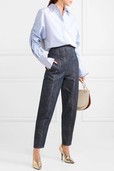 Stella McCartney Oversized-Hemd aus Baumwollpopeline mit Raffungen