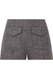 Outer Space checked woven linen shorts
