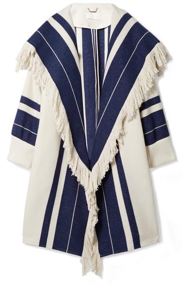 Chloé Mantel aus einer Baumwollmischung mit Fransen