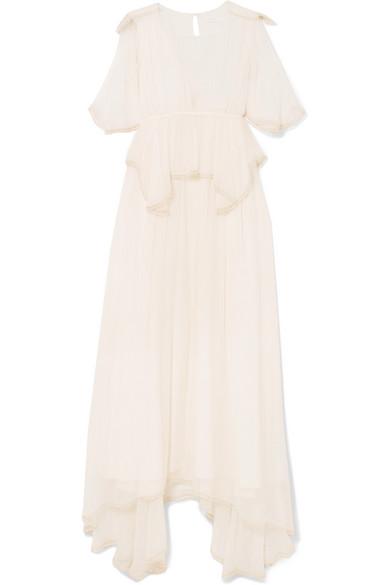Chloé Robe aus Seidenkrepon mit Schößchen und Pompons