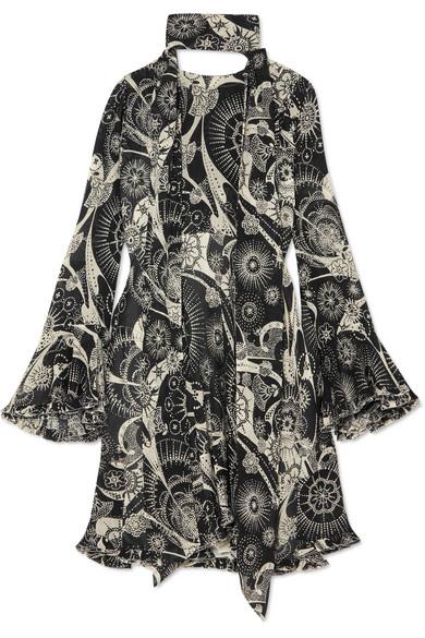 Chloé Bedrucktes Minikleid aus Krepon aus einer Baumwoll-Seidenmischung