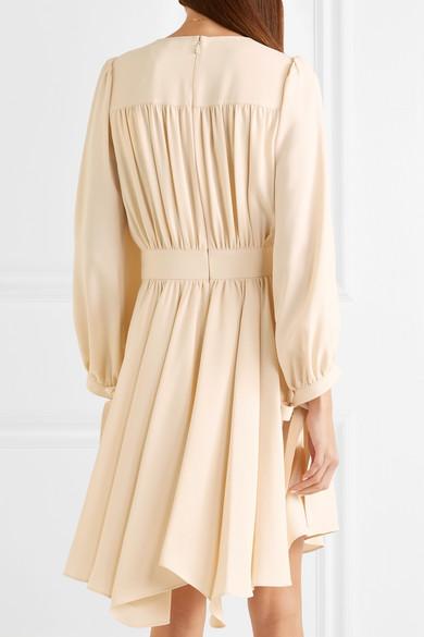 Chloé Asymmetrisches Kleid aus Cady mit Raffungen