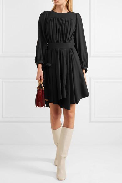 Chloé Asymmetrisches Kleid aus Cady mit Falten