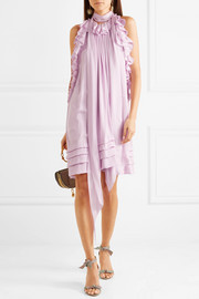 Ruffled silk-charmeuse mini dress
