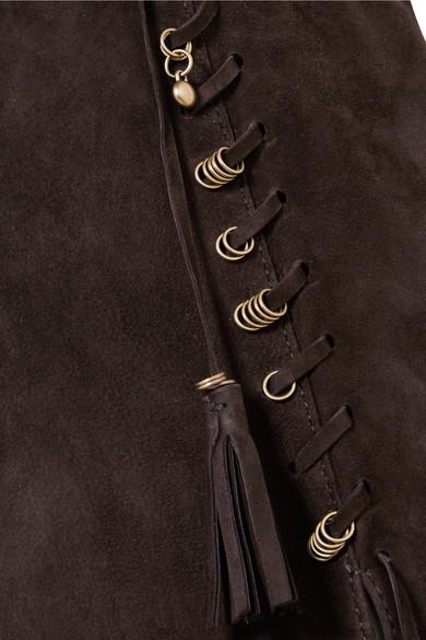 Chloé Weste aus Veloursleder mit Verzierung und Troddeln