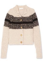 Chloé Striped ribbed wool-blend cardigan