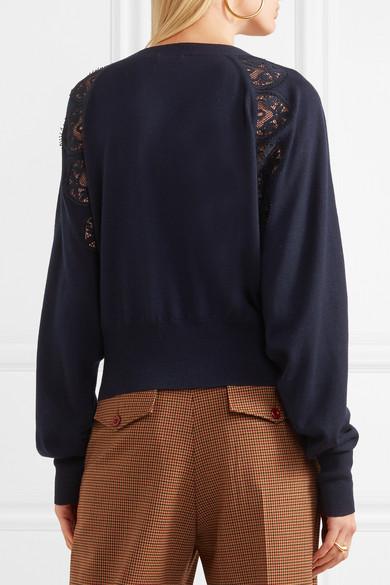 Chloé Cardigan aus Wolle mit Spitzenbesatz aus einer Baumwollmischung