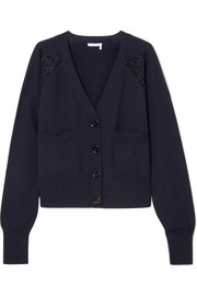 Chloé Cotton-blend lace-trimmed wool cardigan