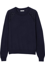Cotton-blend lace-trimmed wool sweater