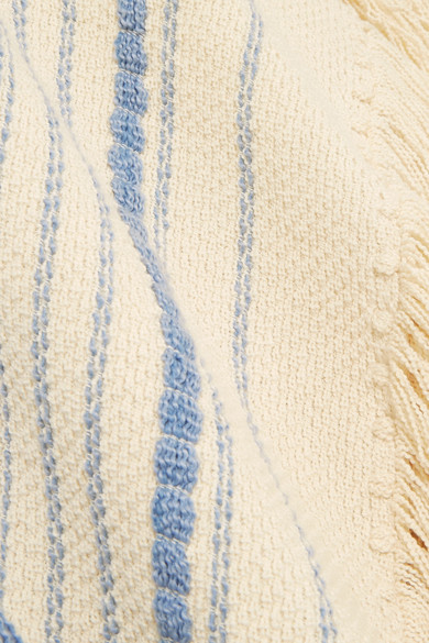Chloé Oversized-Poncho aus einer Baumwoll-Wollmischung mit Fransen