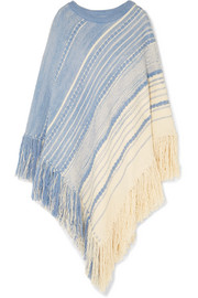 Chloé Oversized fringed cotton and wool-blend poncho