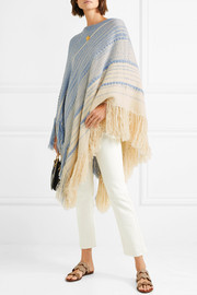 Oversized fringed cotton and wool-blend poncho