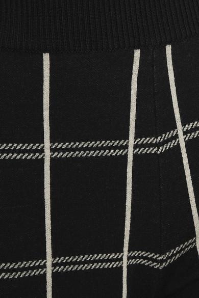 Chloé Karierte Jogginghose aus einer Wollmischung mit Intarsienmuster