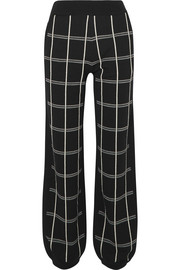 Checked intarsia wool-blend track pants