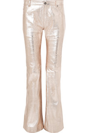 Chloé Metallic textured-leather flared pants