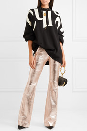 Metallic textured-leather flared pants