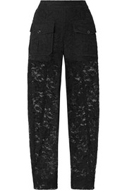 Cotton-blend lace tapered pants