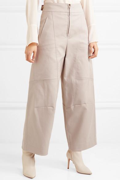 Chloé Verkürzte Hose mit weitem Bein aus Stretch-Baumwolle