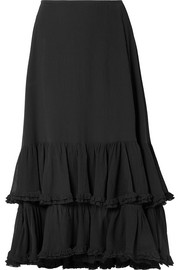 Chloé Tiered cotton and silk-blend crepon midi skirt