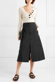 Stretch-cotton midi skirt