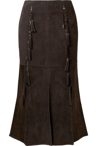 Chloé - Fringed Suede Midi Skirt - Brown