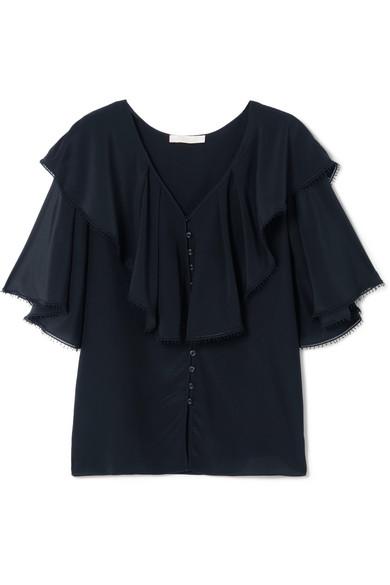 Chloé Bluse aus Crêpe de Chine aus Seide mit Spitzenbesatz und Rüschen