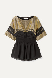 Chiffon and lamé top