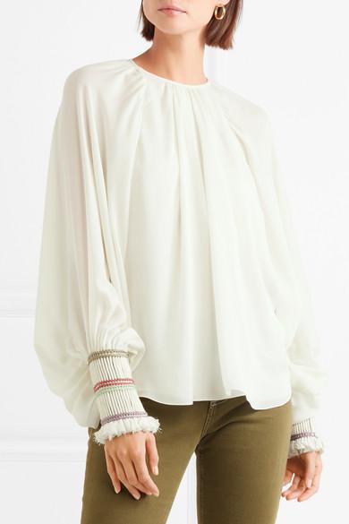 Chloé Bluse aus Seiden-Georgette mit Seilbesätzen