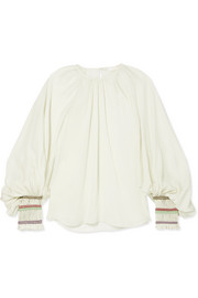 Chloé Rope-trimmed silk-georgette blouse
