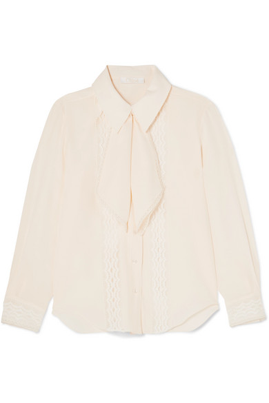 Chloé - Pussy-bow Lace-trimmed Silk Crepe De Chine Blouse - Ivory
