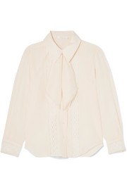 Pussy-bow lace-trimmed silk crepe de chine blouse