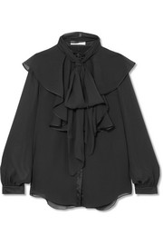 Chloé Ruffled satin-trimmed crepon blouse