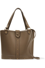 Leather and wood shoulder bag