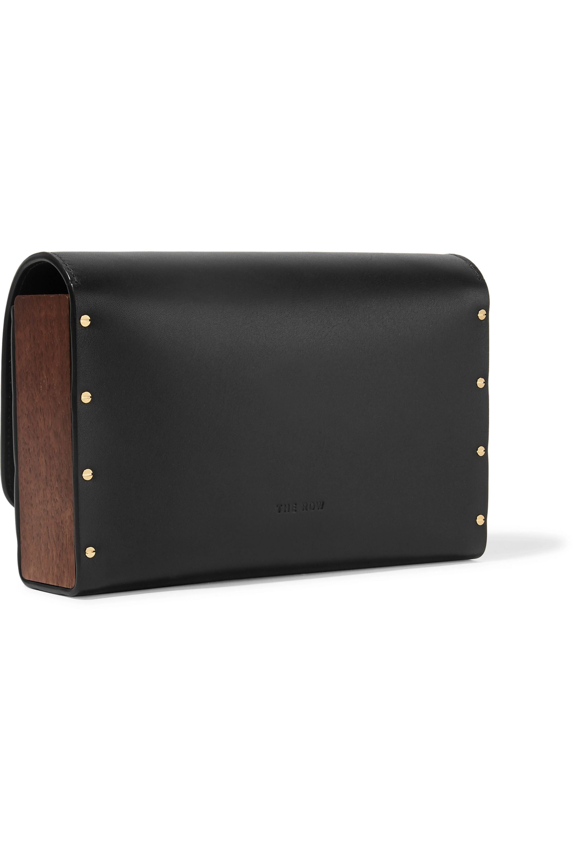 The Row Wood and leather clutch