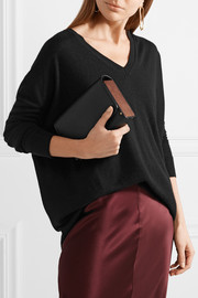 Wood and leather clutch