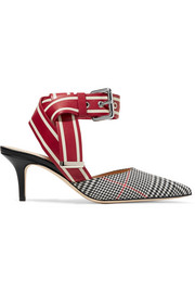 Monse Leather and Prince of Wales checked twill pumps