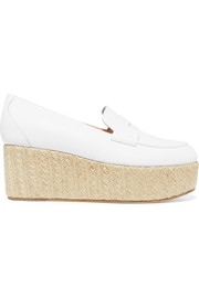 Brucco leather and jute platform loafers