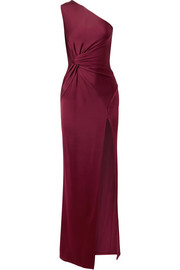 Denise one-shoulder twist-front satin-jersey gown