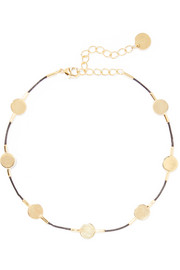 Leather and gold-plated anklet