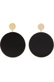 Gold-plated leather earrings