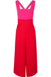 STAUD Joyce cropped two-tone crepe de chine jumpsuit