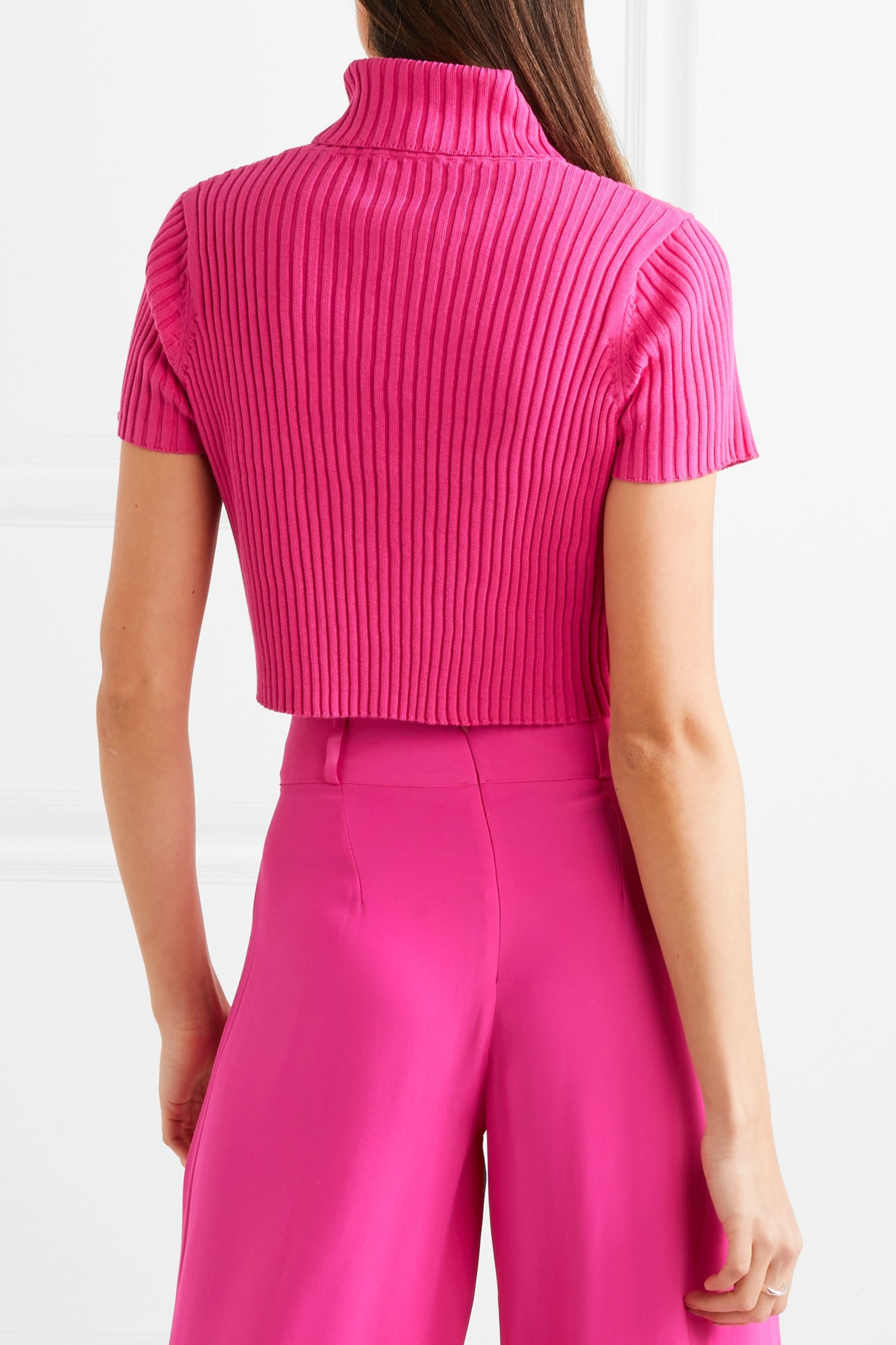 STAUD Lilou cropped ribbed cotton top