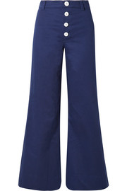 Novak cropped cotton-blend wide-leg pants