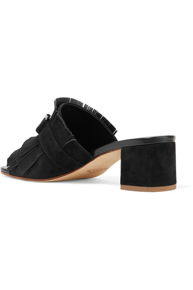 Tod Decorated Mules With Frayed Suede