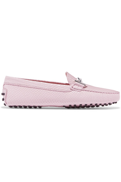 Tod's - Gommino Embellished Lizard-effect Leather Loafers - Baby pink