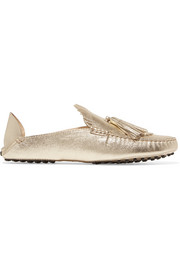 Tod's Fringed metallic textured-leather collapsible-heel loafers