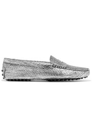 Tod's Gommino metallic textured-leather loafers