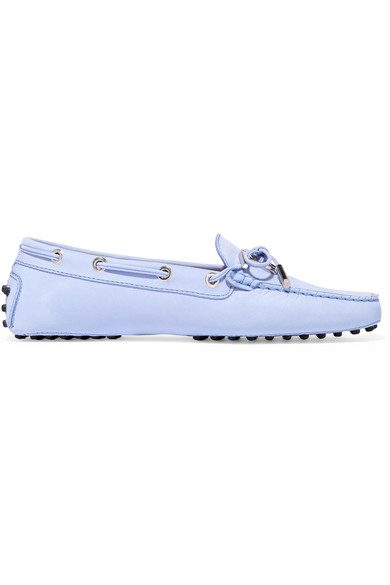 Tod's - Gommino Embellished Suede Loafers - Blue